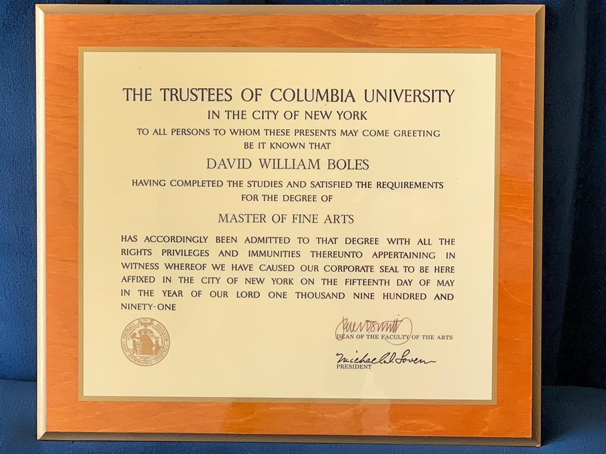 Columbia Univeristy David Boles Diploma 1991