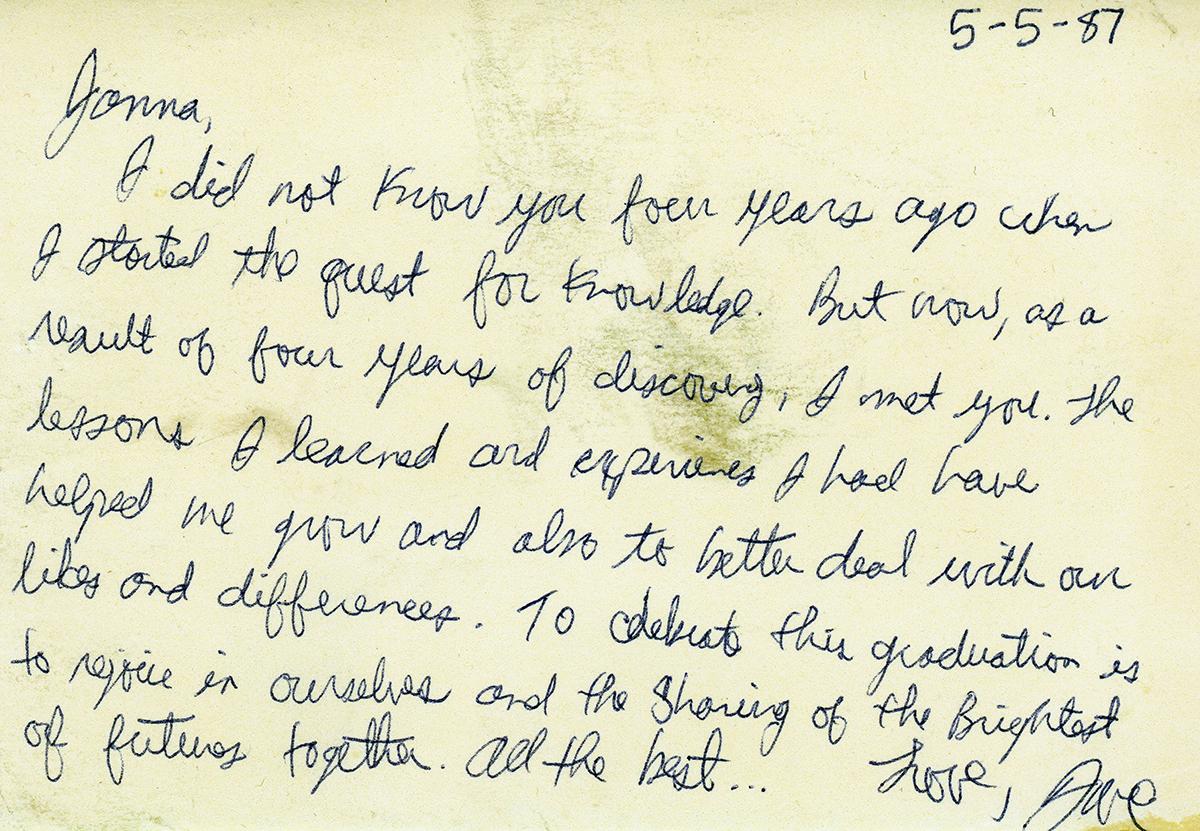 David Boles writes to Janna Sweenie 5-5-87