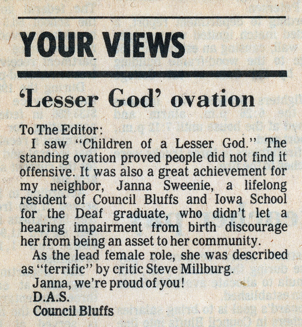 Janna Fan Letter to the Editor