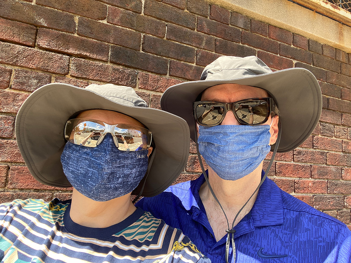 David and Janna hatted, glassed and masked!