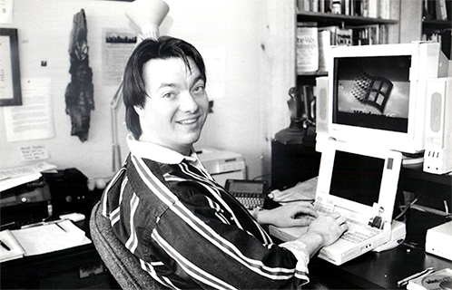 David Boles writing on a computer