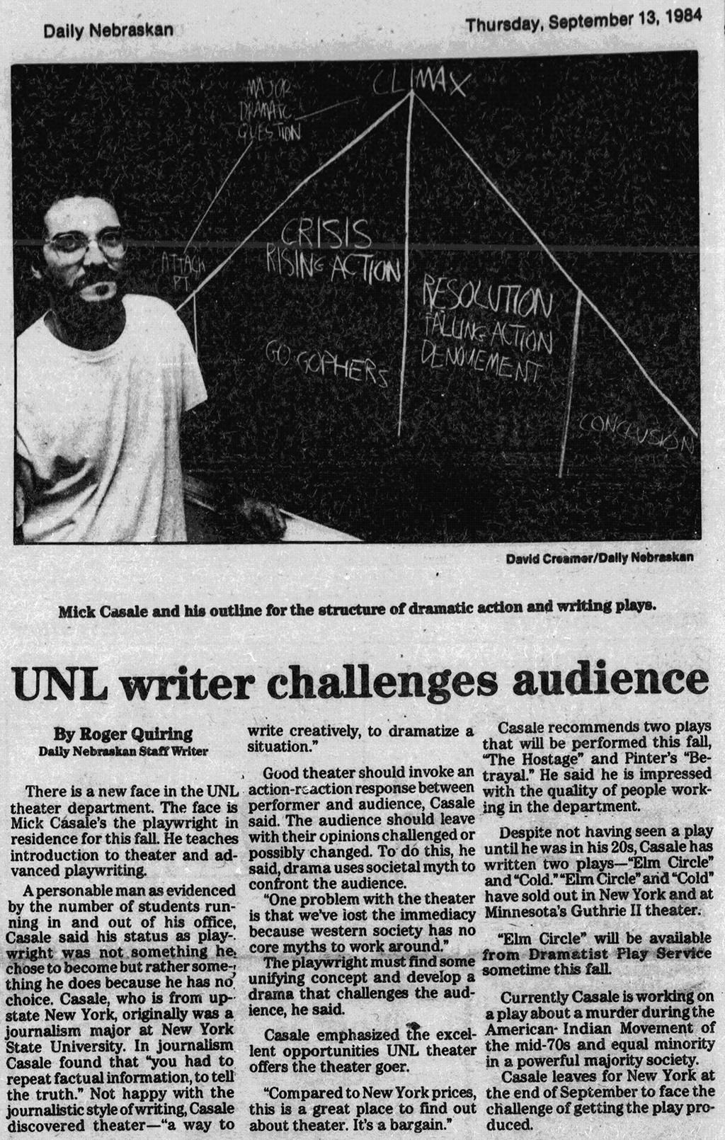 Mick Casale, UNL Theatre, Visiting Professor