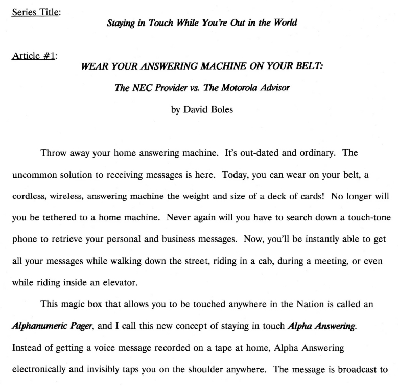 Answering Machine on your belt
