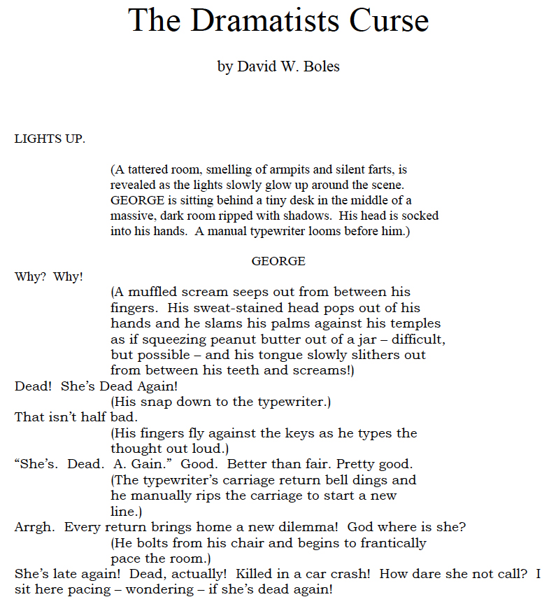 Dramatists Curse Script