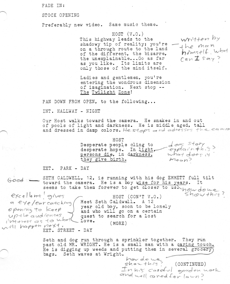 Twilight Zone: Another 12-Year-Old Hero Script