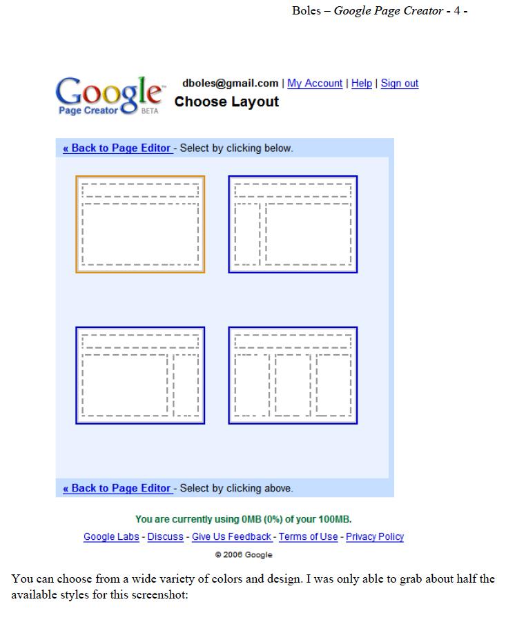 Google Page Creator: Visual QuickStart Guide