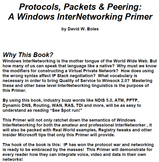 Protocols, Packets & Peering: A Windows InterNetworking Primer