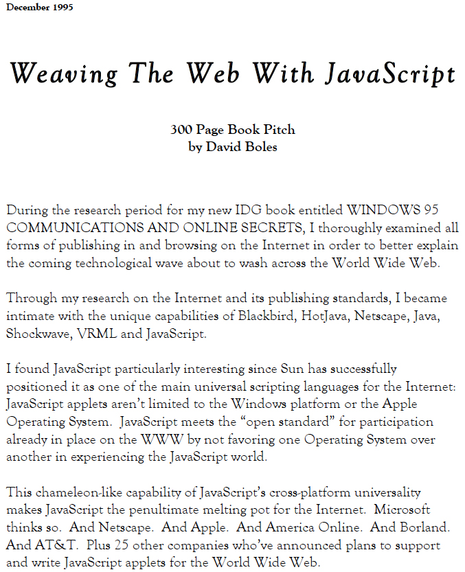 Weaving the Web with JavaScript